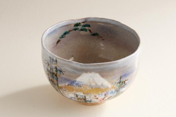 茶碗 乾山 富士に松竹梅 寺尾陶象作