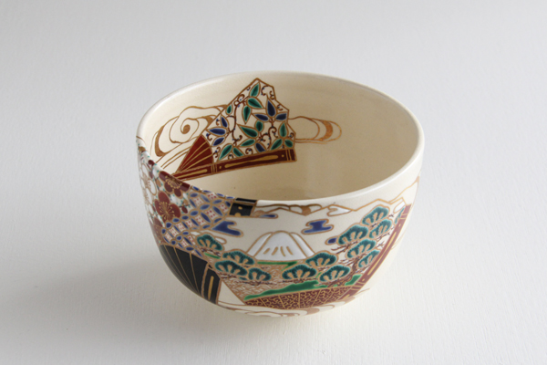 茶碗 仁清 扇面 富士絵 平安御室窯