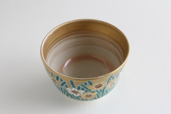 茶碗 金地 水仙絵 平安赤雲