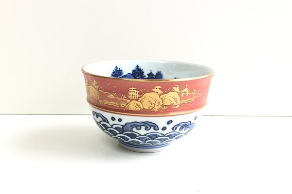 茶碗 染付 金襴手 林秀峰作