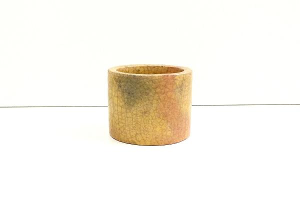 茶道 蓋置 萠黄釉 佐々木昭楽作