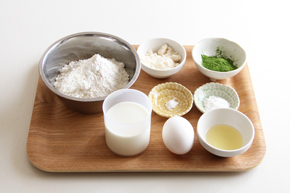 ますみえんの抹茶を使った、抹茶のパンケーキのレシピ 材料